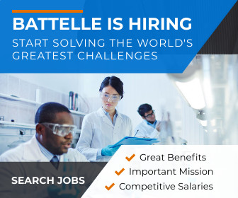 Photo with Text: Battelle Solvers working on a whiteboard, text reads Battelle Is Hiring - Search Jobs