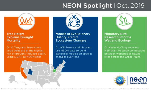 NEON Spotlight Infographic showcasing three projects using NEON data