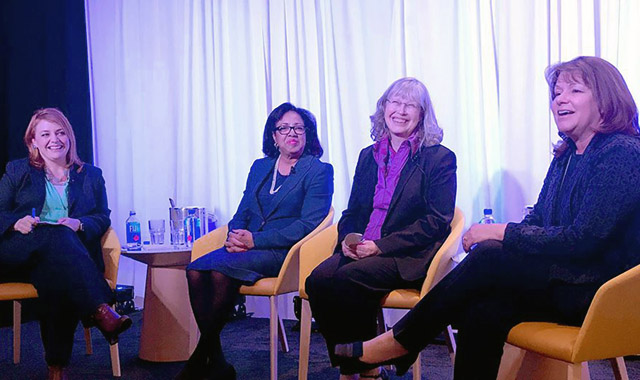 the panel of Battelle's female board members during a recent talk