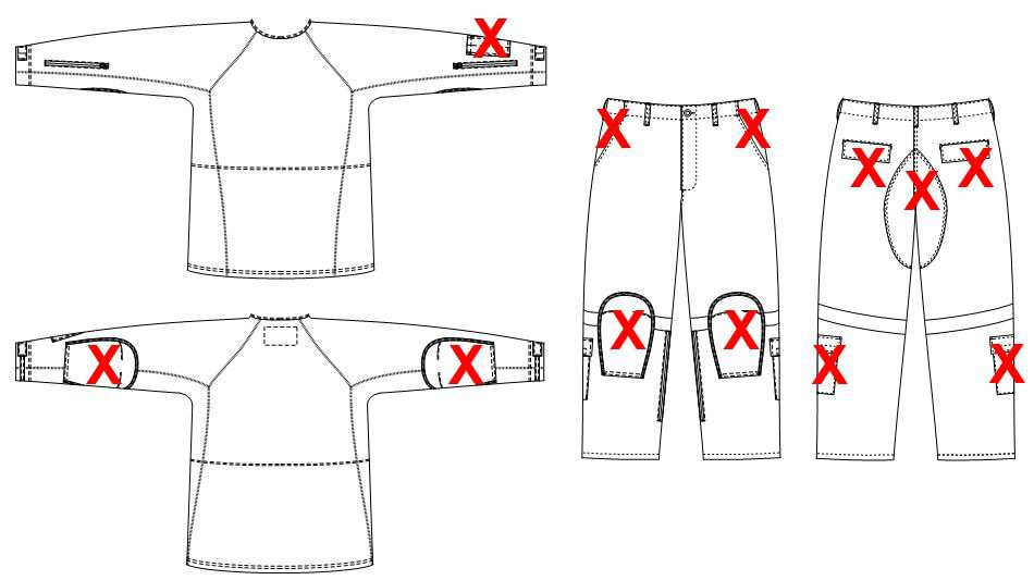 a sketch showing placements of pockets on garments