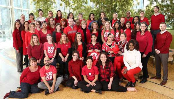Employees wearing red at Luries Children's Hospital of Chicago