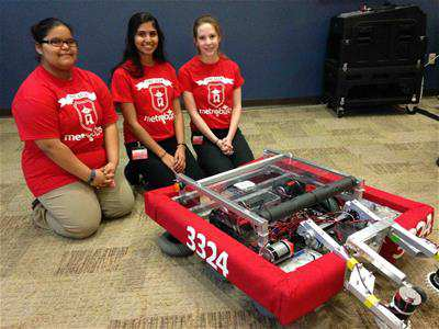 Metro High School students pose with their robot