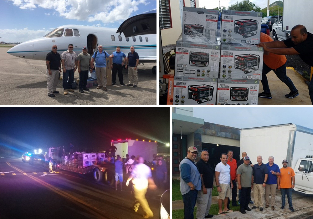 collage of images that include plane and trucks with supplies