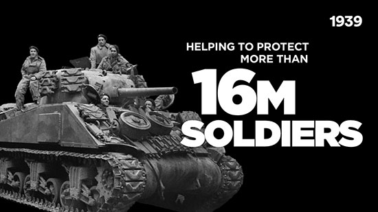 Photo of Allied Forces on a Tank with Text reading Helping to protect more than 16M allied soldiers