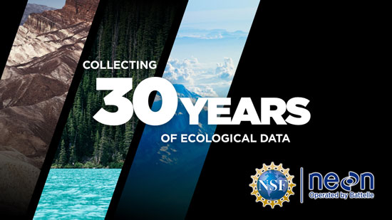 Photos of Air, Water and Land with National Ecological Observatory Network Logo