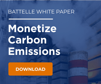 Carbon emissions photo with text advertising the Battelle Monetizing your Carbon Emissions with 45Q Tax Credits White Paper